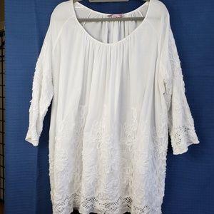 Calypso St. Barth Embroidered Cotton Peasant Tunic